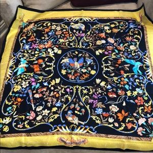 "34"" square Hermès silk scarf. Black, yellow, teal"